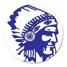 Blue Indian Head Dress Round Car Magnet