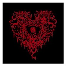 Ornate Red Gothic Heart Invitations