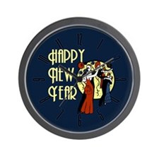 Retro Happy New Year Wall Clock