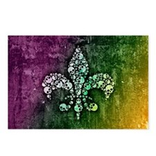 Colorful Skull Fleur De Lis Postcards (Package of