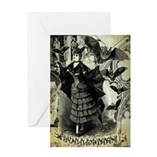 Victorian Halloween Bat Collage Greeting Card