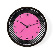 White and Black Polka Dot Pattern Wall Clock