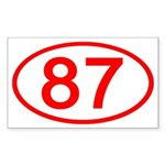 Number 87 Oval Rectangle Sticker