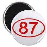 Number 87 Oval Magnet