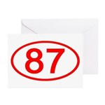 Number 87 Oval Greeting Cards (Pk of 10)