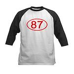 Number 87 Oval Kids Baseball Jersey
