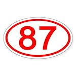 Number 87 Oval Oval Sticker