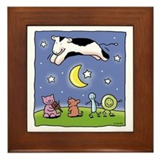 cow jumping over the moon Framed Tile