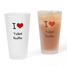 I love Ticket Booths Drinking Glass