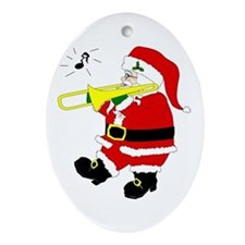 Santa Plays Trombone Christmas Oval Ornament