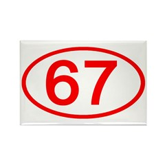Number 67 Oval Rectangle Magnet (10 pack)