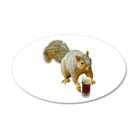 Squirrel Mug Beer 20x12 Oval Wall Decal