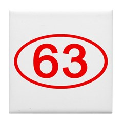 Number 63 Oval Tile Coaster