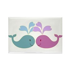 Two Cute Blue and Pink Whales Rectangle Magnet (10