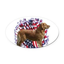 GoldenRetrieverPatriot.png Oval Car Magnet