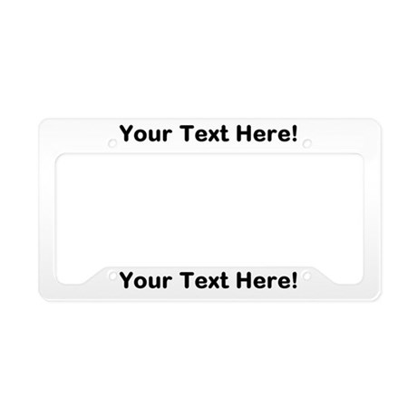 CUSTOM TEXT White License Plate Holder