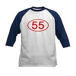 Number 55 Oval Kids Baseball Jersey