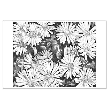 Flowers & Honey Bee Sketch Large Poster Print
