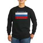 Russia Russian Flag Long Sleeve Black T-Shirt