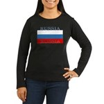 Russia Russian Flag Womens Sleeved Brown Shirt