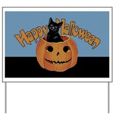 Vintage Halloween Cat In Pumpkin Yard Sign