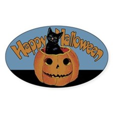 Vintage Halloween Cat In Pumpkin Decal