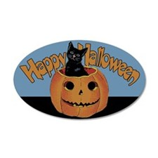 Vintage Halloween Cat In Pumpkin Wall Decal