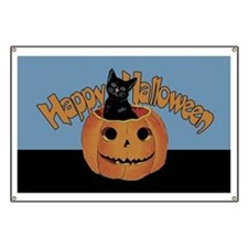 Vintage Halloween Cat In Pumpkin Banner