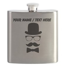 Personalized Mustache Face With Top Hat Flask