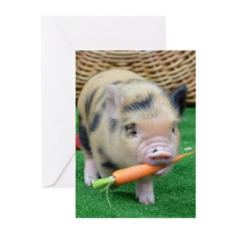 Micro pig with carrot Greeting Cards (Pk of 20)