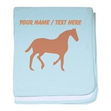 Personalized Brown Horse Silhouette baby blanket