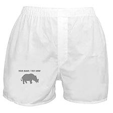 Personalized Grey Rhino Silhouette Boxer Shorts