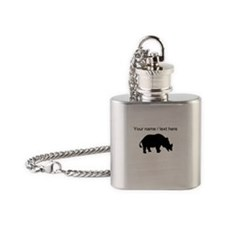 Personalized Black Rhino Silhouette Flask Necklace