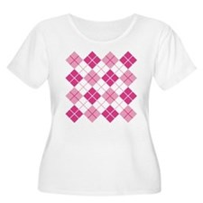 Pink Argyle Plus Size T-Shirt