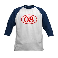 Number 08 Oval Kids Baseball Jersey