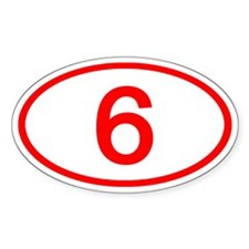 Number 6 Oval Oval Decal