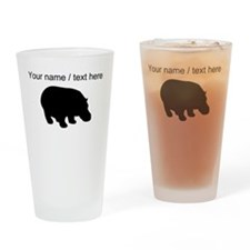 Personalized Black Hippo Silhouette Drinking Glass