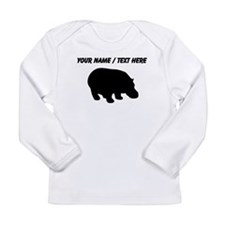 Personalized Black Hippo Silhouette Long Sleeve T-