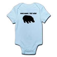 Personalized Black Hippo Silhouette Body Suit