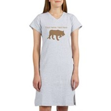 Personalized Brown Panther Silhouette Women's Nigh