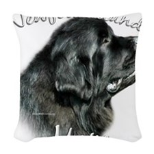 NewfblackMom.png Woven Throw Pillow