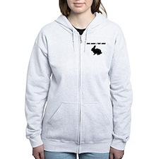 Personalized Black Bunny Silhouette Zip Hoodie
