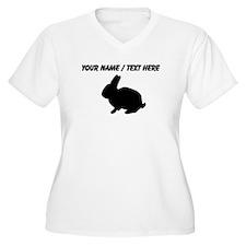 Personalized Black Bunny Silhouette Plus Size T-Sh