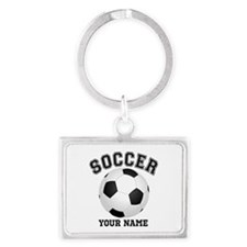 Personalized Name Soccer Landscape Keychain
