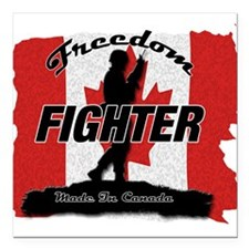 "Canadian Freedom Fighter Square Car Magnet 3"" x 3"""