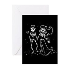 Skeleton Bride And Groom Greeting Cards (Pk of 10)