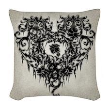 Ornate Gothic Heart Woven Throw Pillow