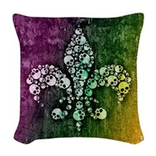 Colorful Skull Fleur De Lis Woven Throw Pillow