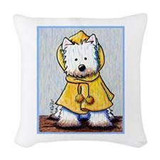 Rainy Day Westie Woven Throw Pillow