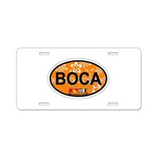 Boca Raton - Oval Design. Aluminum License Plate
